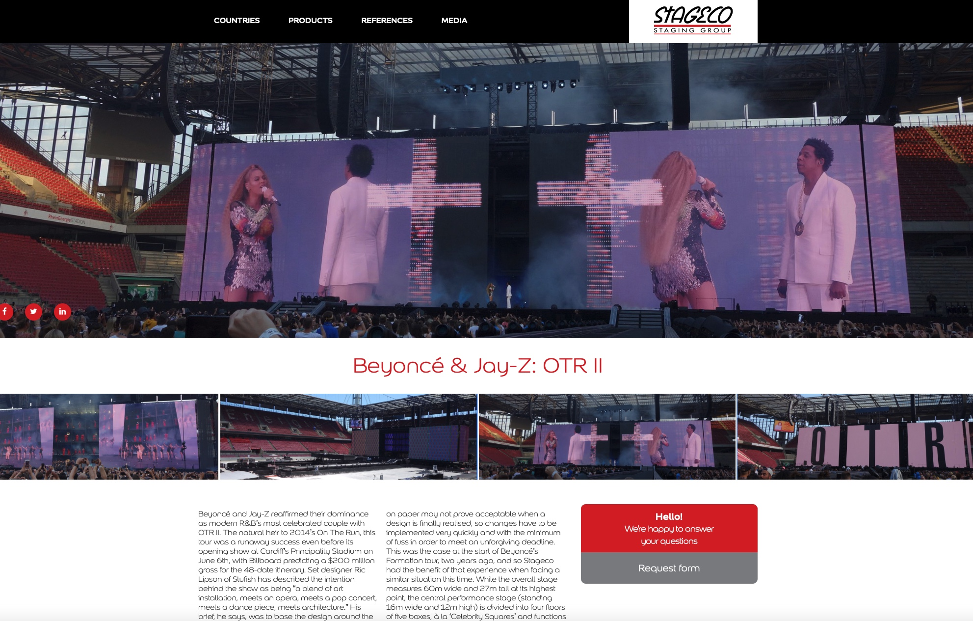 STAGECO,  websites  for a renowned stagebuilder - Application web