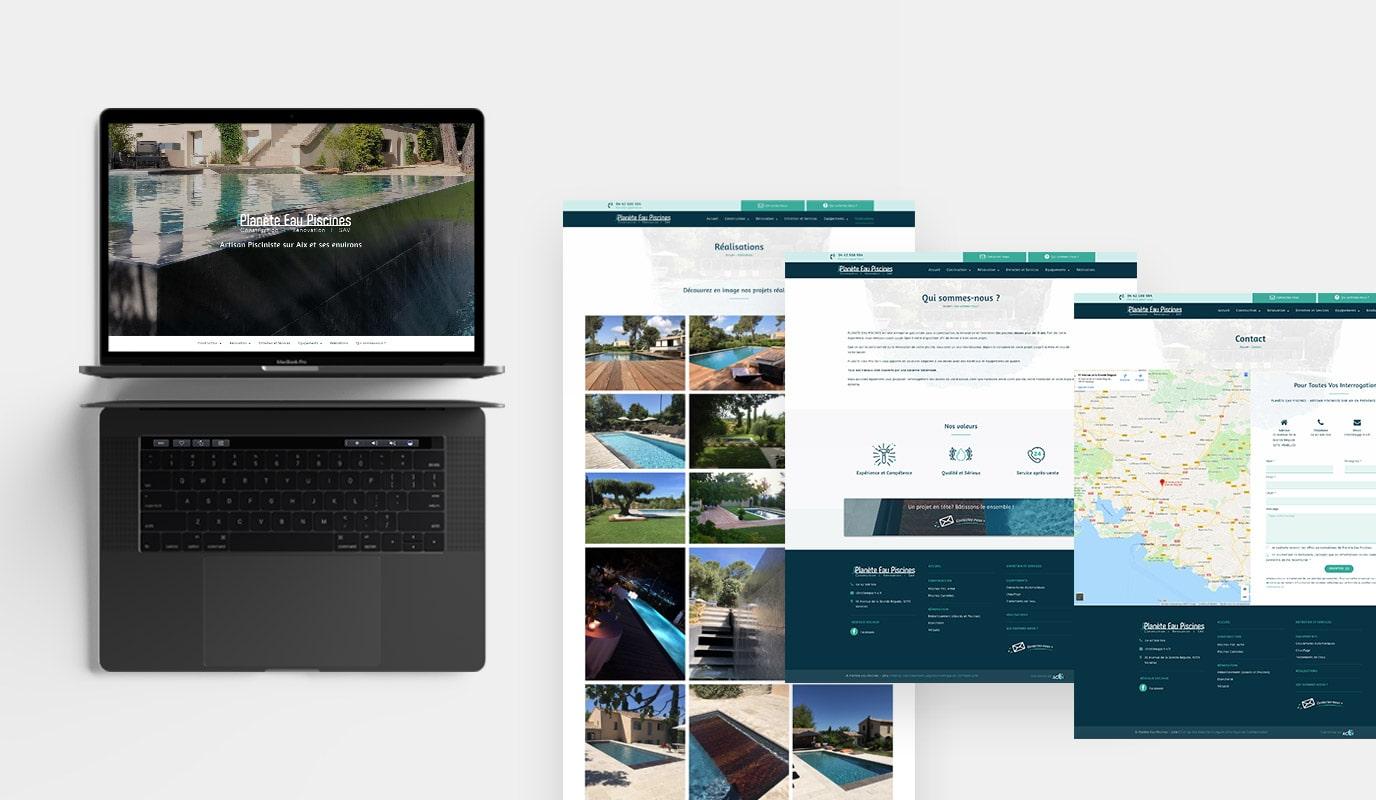Planète Eau Piscines - Site Internet et Branding - Création de site internet