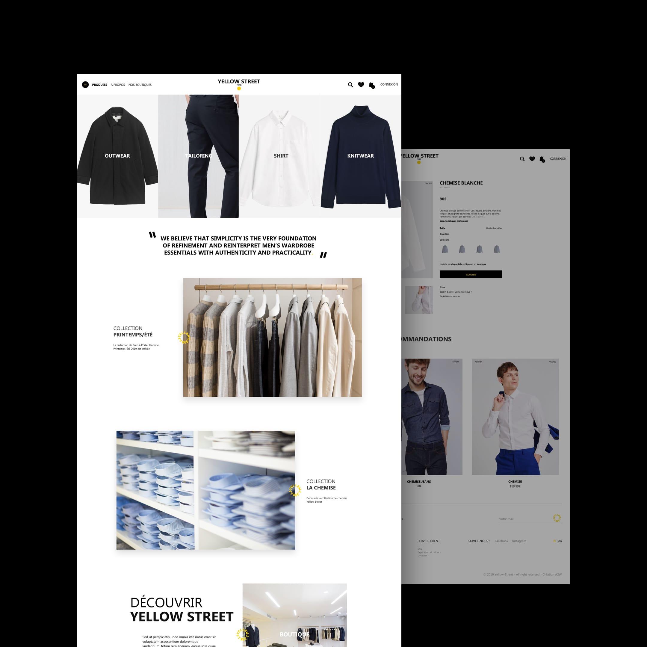 Yellow street – Site E-commerce // Mode - Création de site internet
