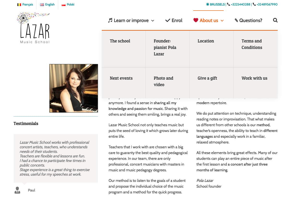 Music Education website in Brussels - Référencement naturel