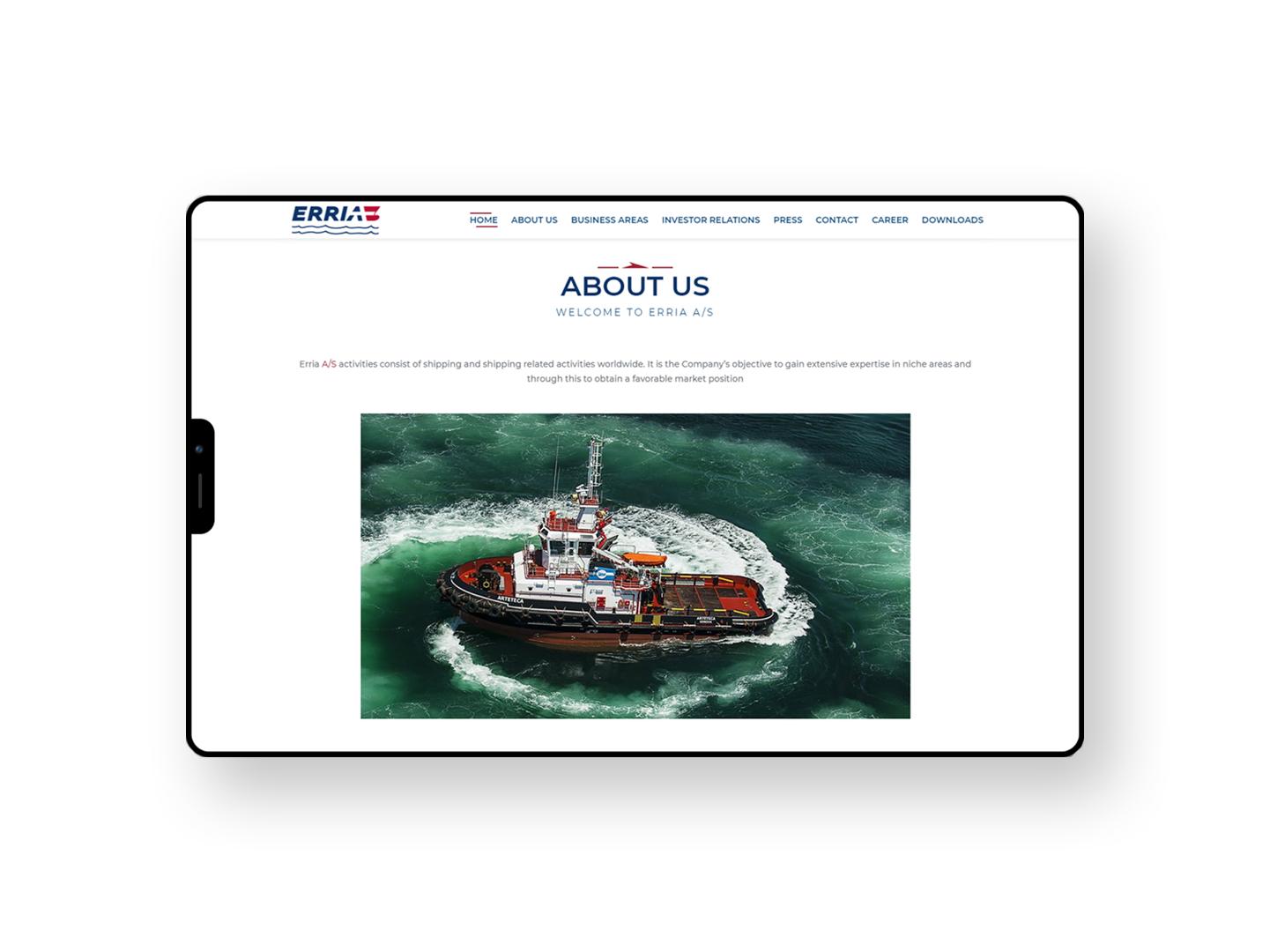 Erria A/S Website - Website Creation