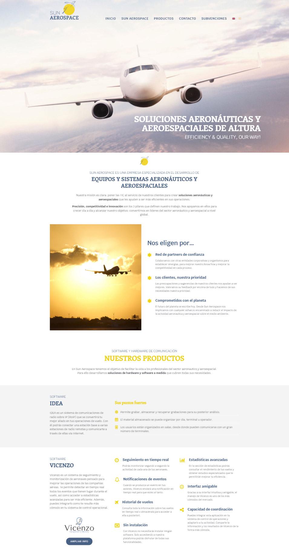 Diseño gráfico y web de Sun Aerospace - Creación de Sitios Web