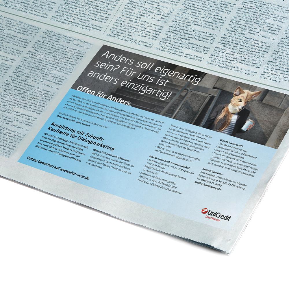 UniCredit Print Anzeige / Recruiting Kampagne - Markenbildung & Positionierung
