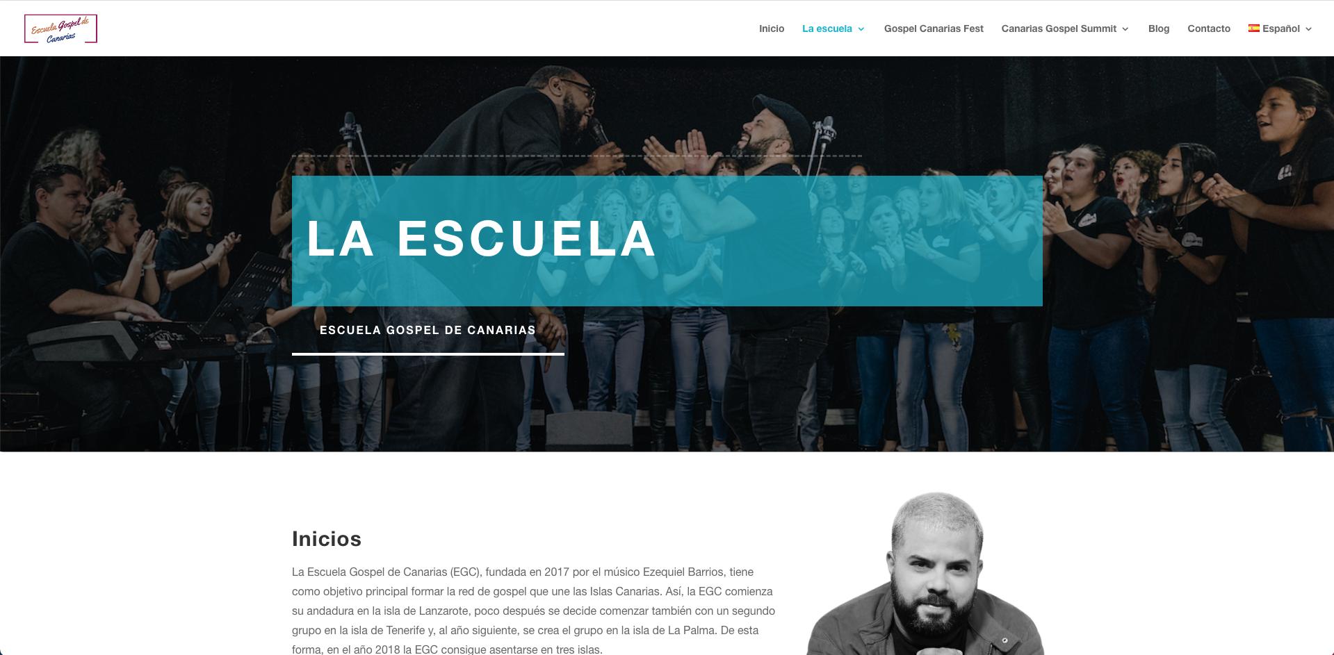 Diseño web para la Escuela Gospel de Canarias - Creación de Sitios Web