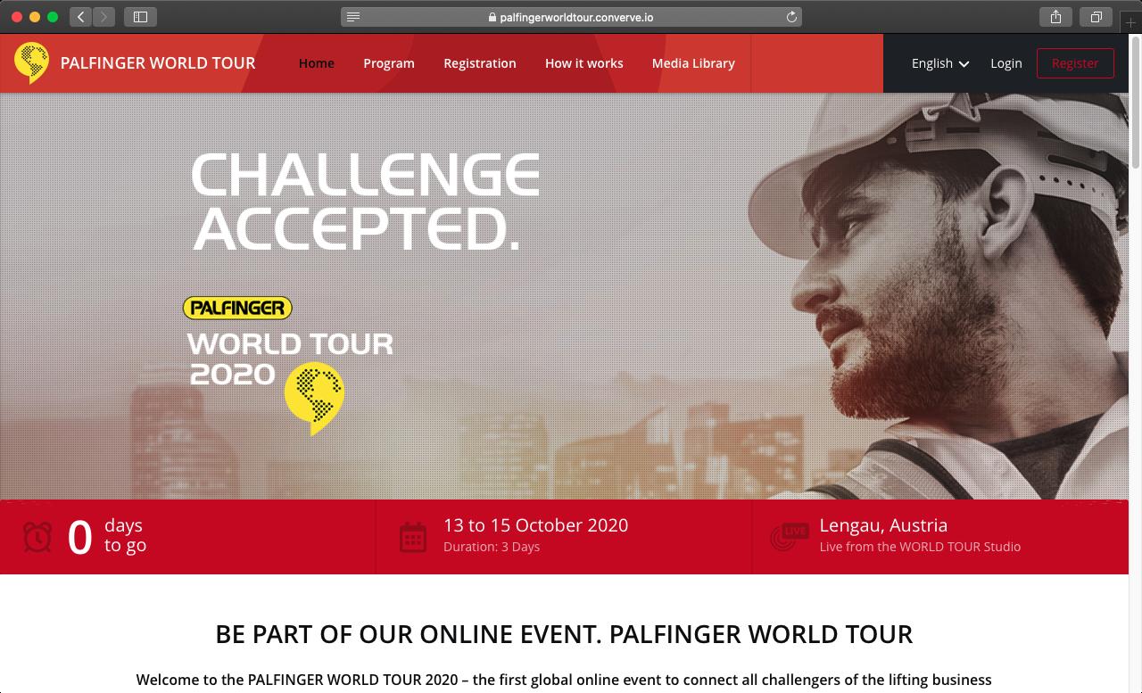 PALFINGER World Tour 2020 - Emailing
