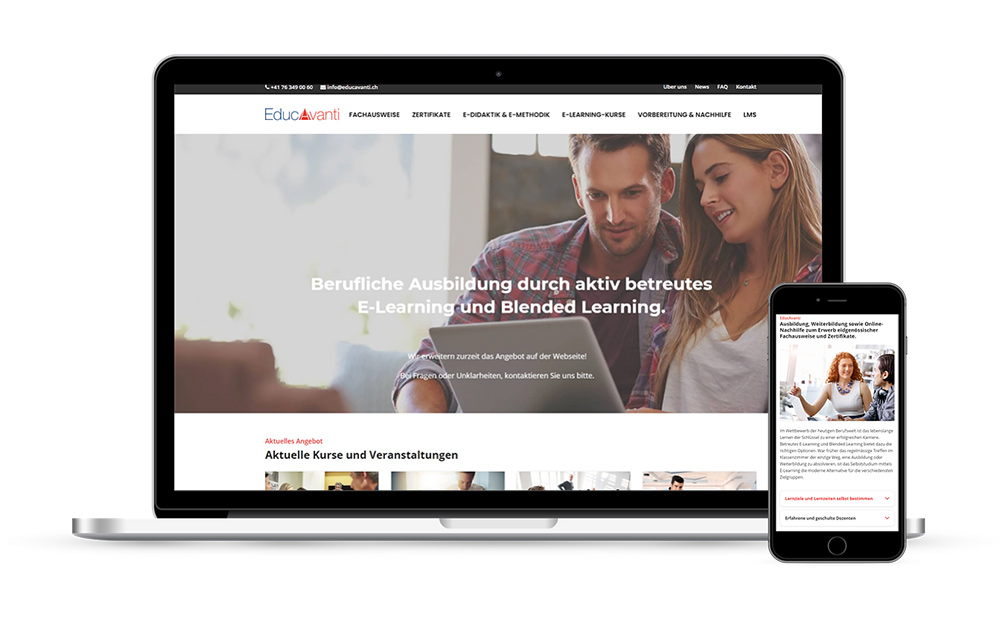 Website & E-Commerce für Online Learning - Webseitengestaltung