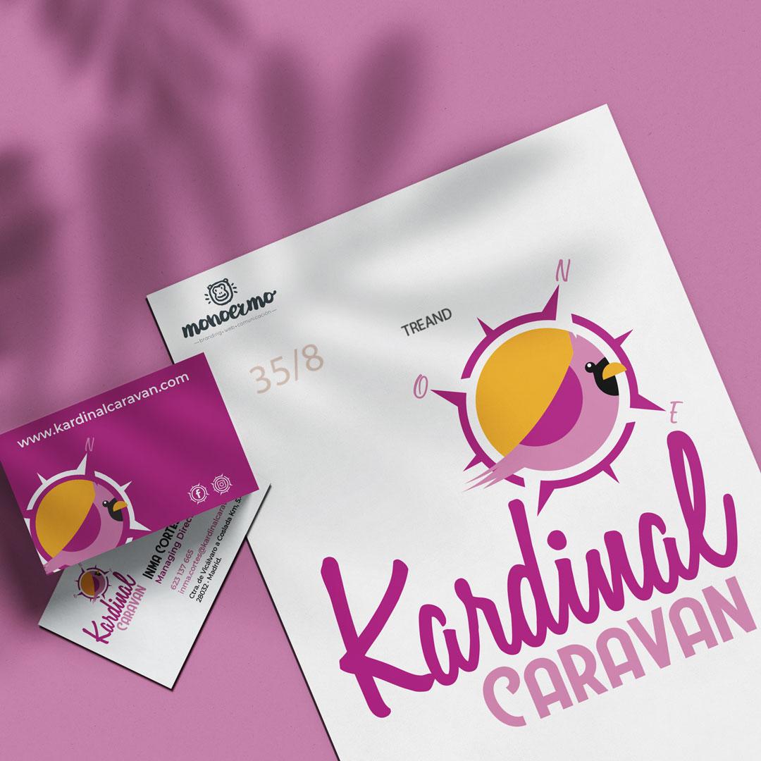 Logotipo y tarjetas de Kardinal Caravan - Creación de Sitios Web