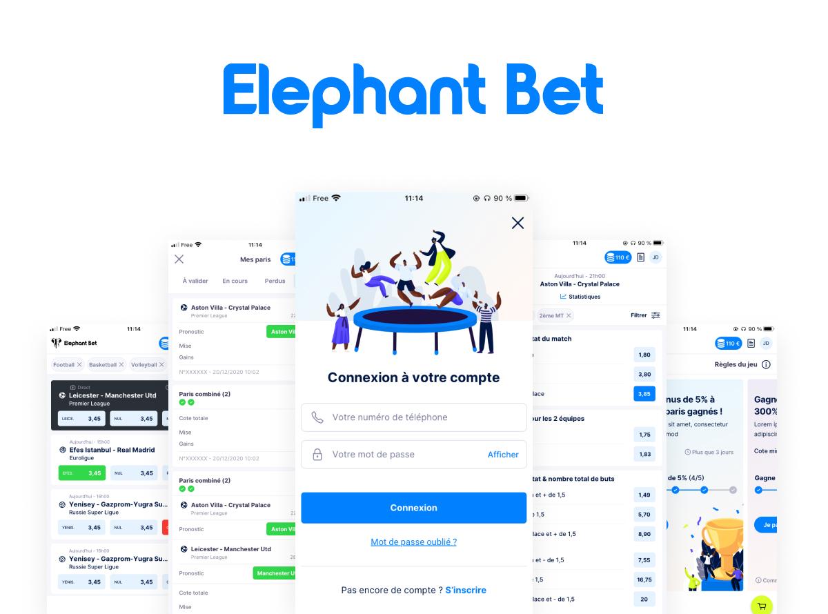 Elephant Bet - Conception UX/UI Site Paris Sportif - Stratégie digitale