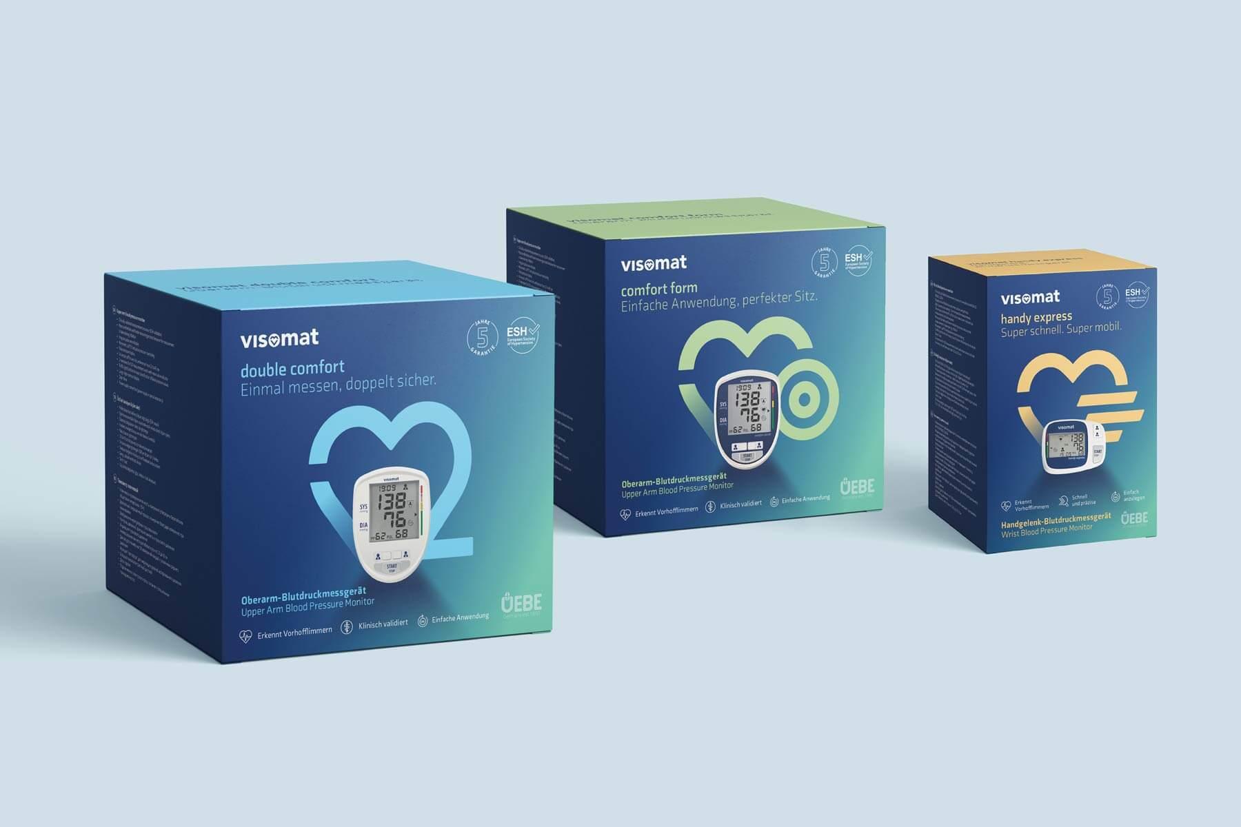 Package Design für Blutdruckmessgeräte-Serie - Markenbildung & Positionierung