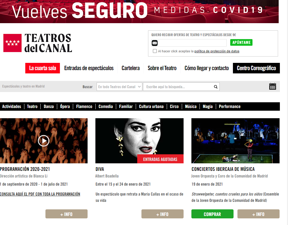 Web, SEO y SEM para Teatros Canal - Creación de Sitios Web