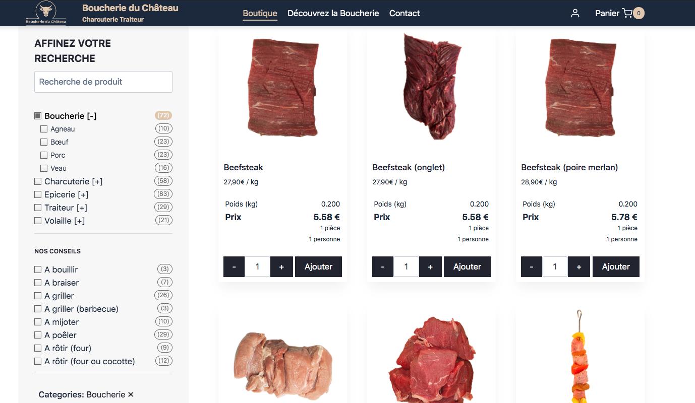 Site e-commerce - Commerçant - Boucherie - E-commerce