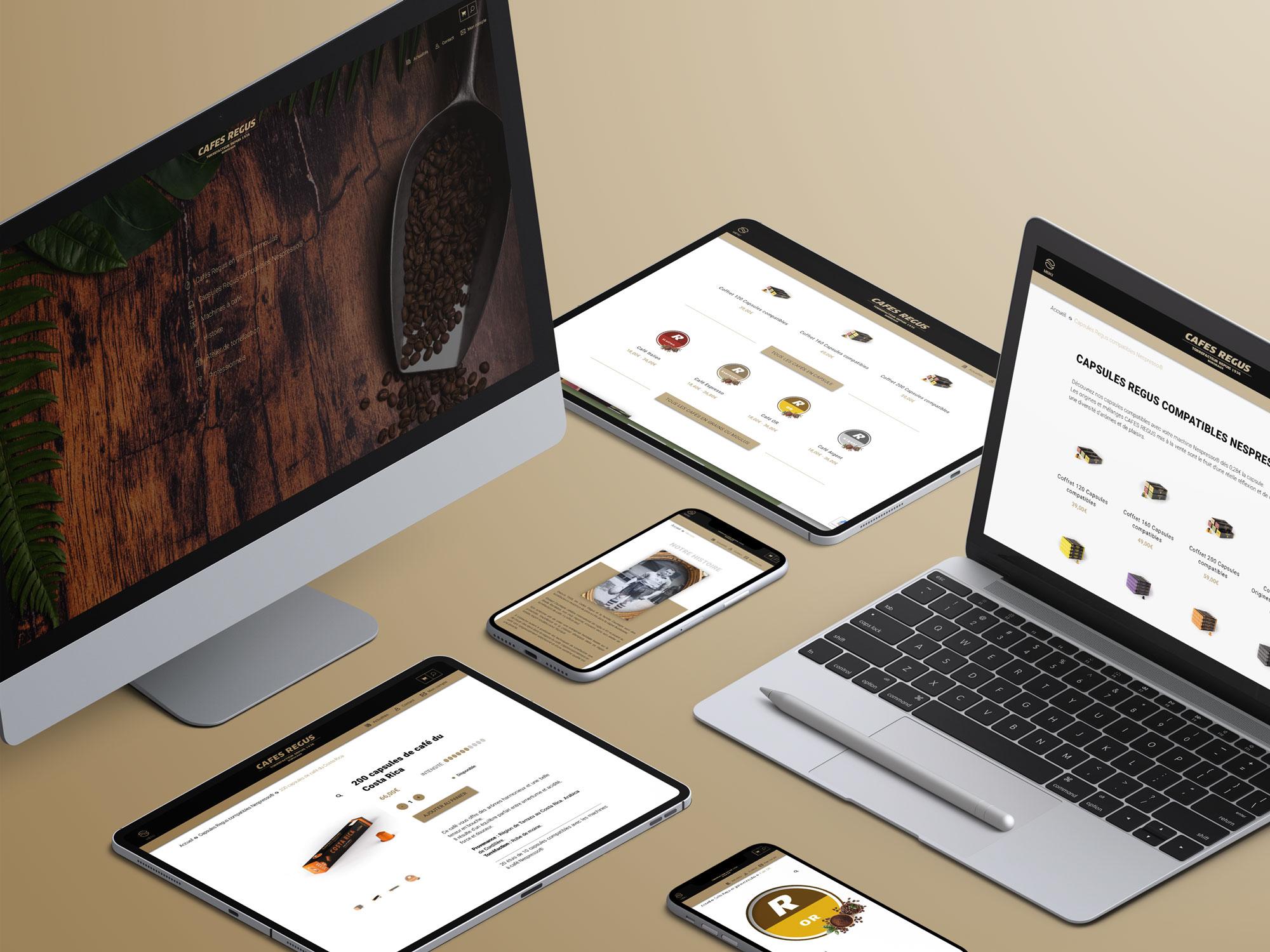 Site e-commerce Cafés Régus - Création de site internet
