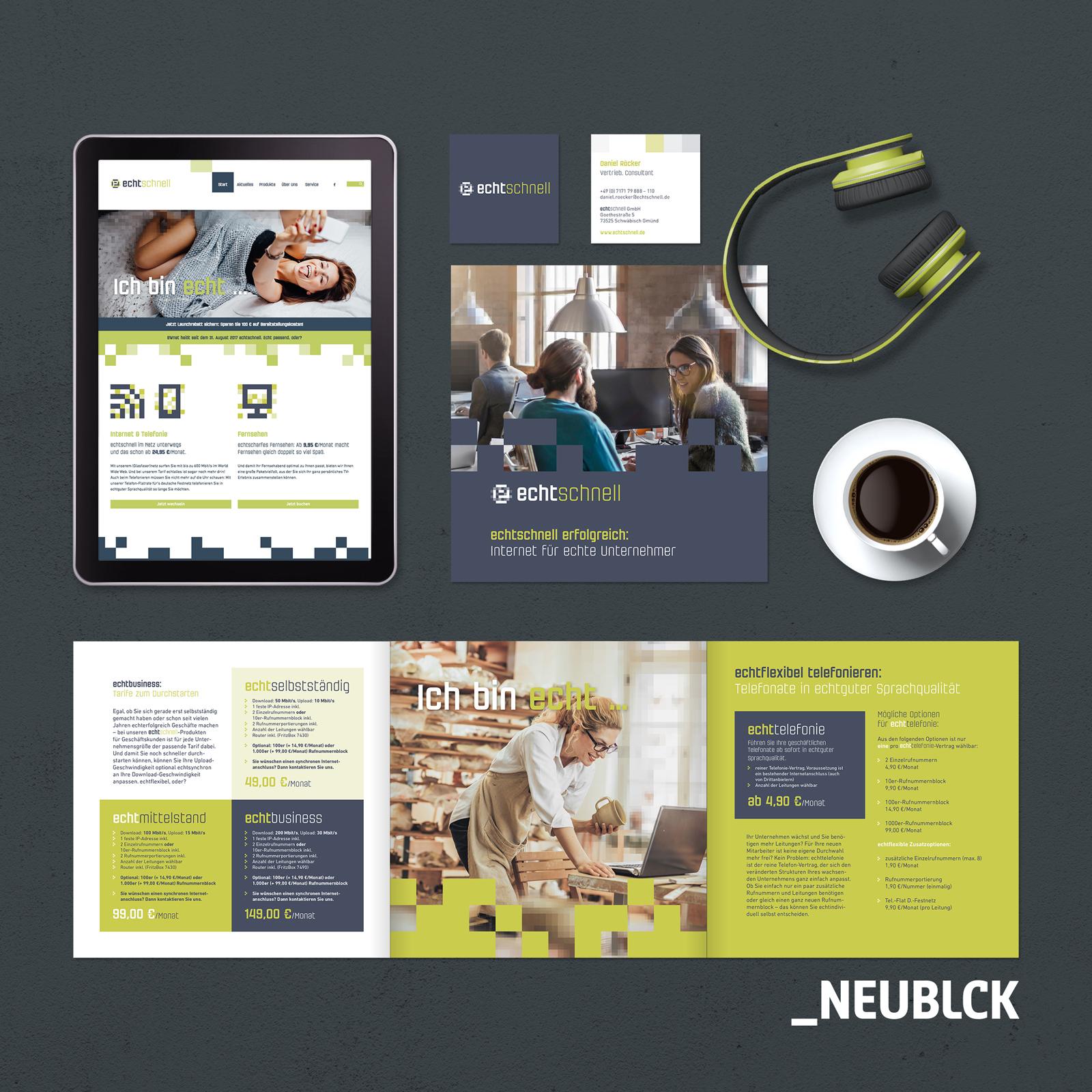Echtschnell: Naming, Corporate Design, Website