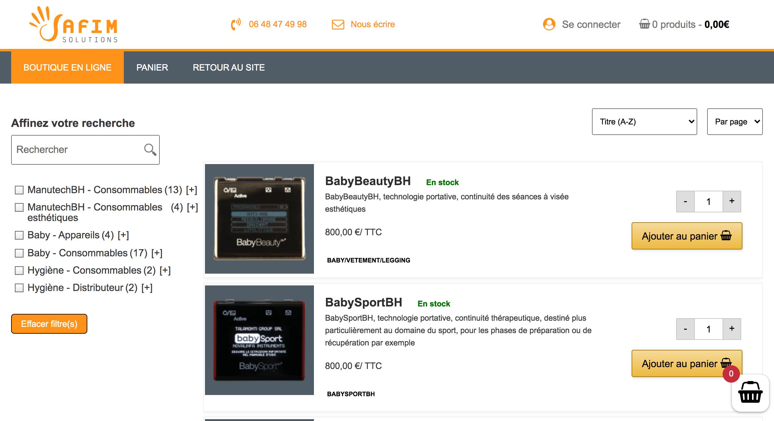 Site e-commerce - Matériels professionnels de sant - E-commerce
