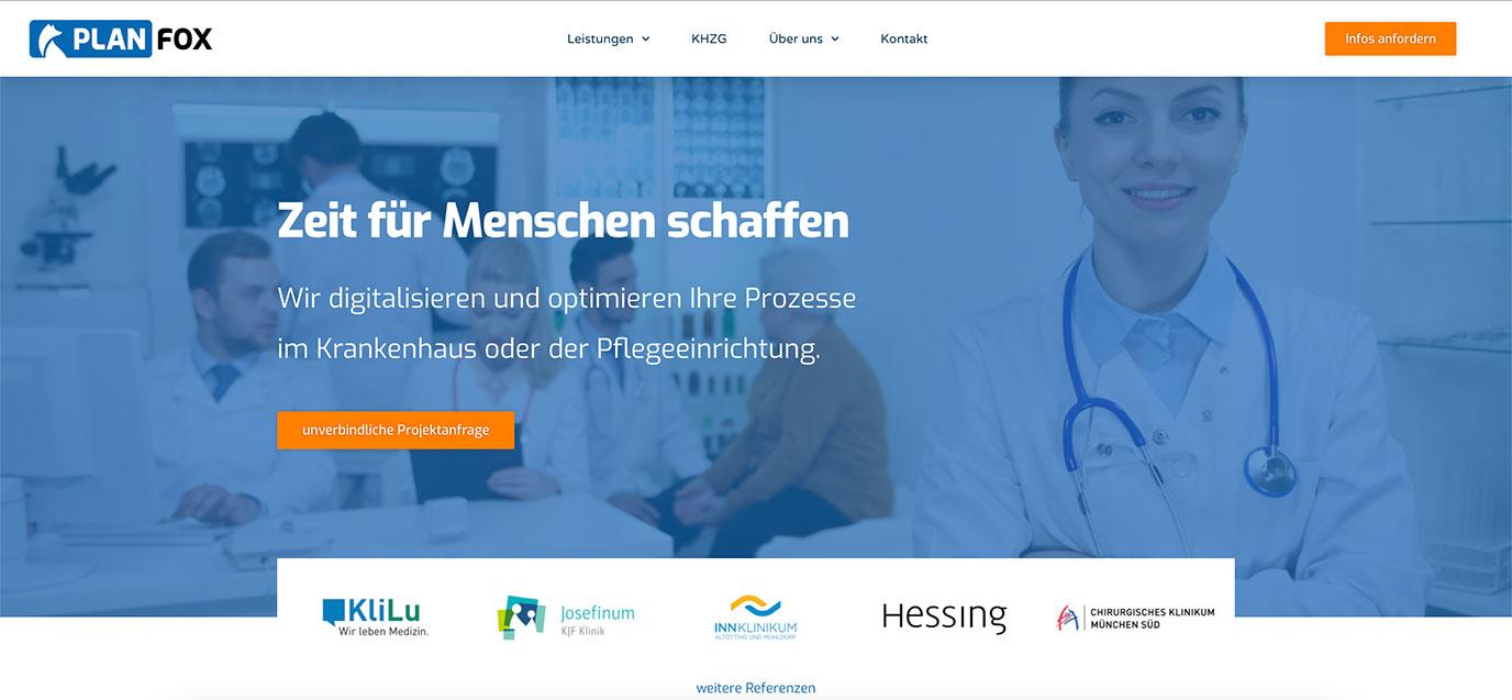 Planfox | Digitalisierung im Gesundheitswesen - Webseitengestaltung