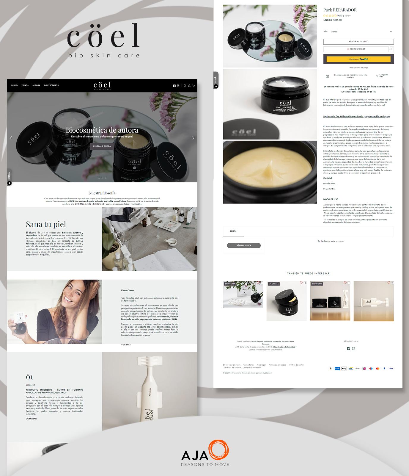 Web corporativa & ecommerce para Cöel Cosmetics - Creación de Sitios Web